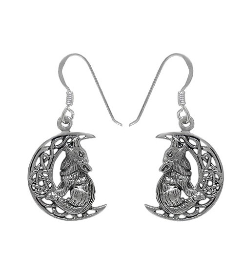 Wolf & Cresent Moon Dangle Earring, Sterling Silver