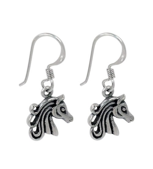 Horse Head Dangle Earring, Sterling Silver