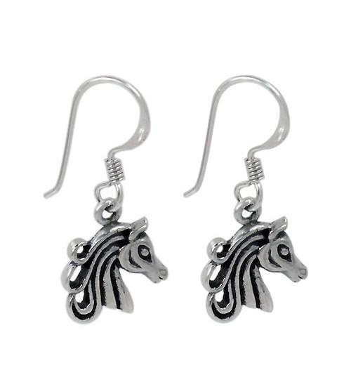 Horse Head Dangle Earring, Sterling Silver