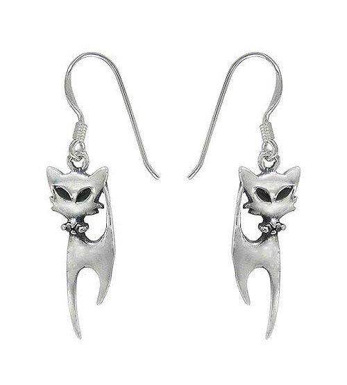 Cat Dangle Earring, Sterling Silver