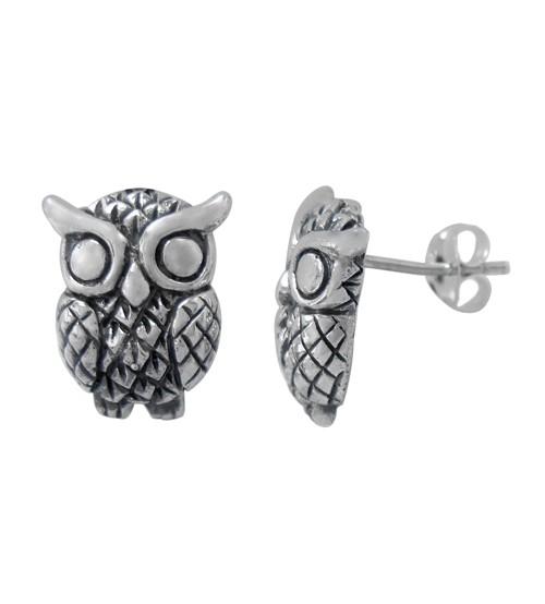 Owl Stud Earring, Sterling Silver