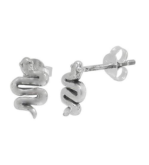 Snake Stud Earring, Sterling Silver