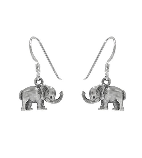 Elephant Dangle Earring, Sterling Silver