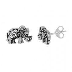 Elephant Stud Earring, Sterling Silver