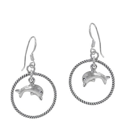Dolphin Earring with Twisted Hoop, Sterling Silver