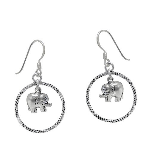 Elephant Earring with Twisted Hoop, Sterling Silver
