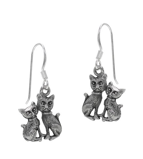 Double Cat Dangle Earring, Sterling Silver