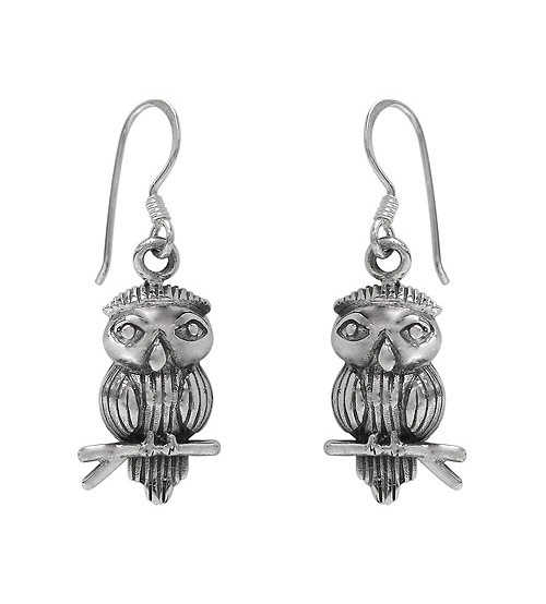 Owl Dangle Earring, Sterling Silver