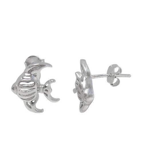 Fish Stud Earring, Sterling Silver