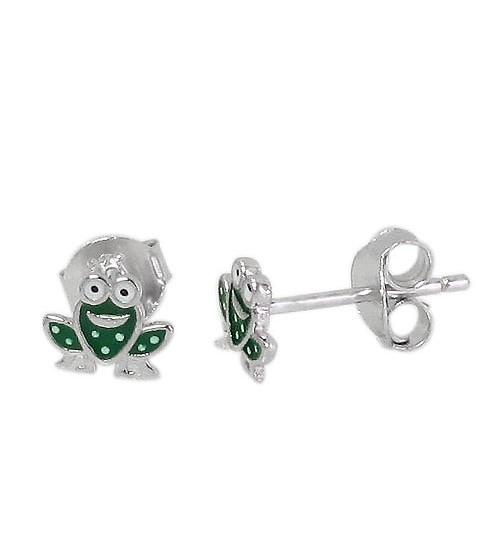Frog Stud Earring, Sterling Silver