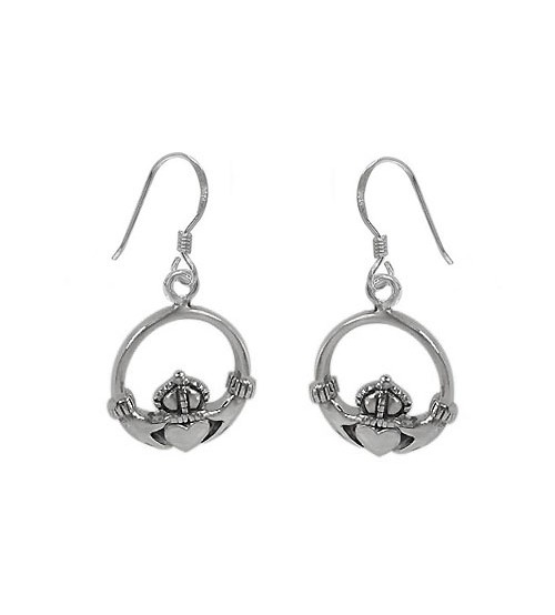 Claddagh Dangle Earrings, Sterling Silver
