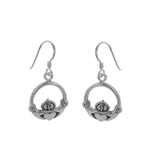 Claddagh Dangle Earrings, Sterling Silver