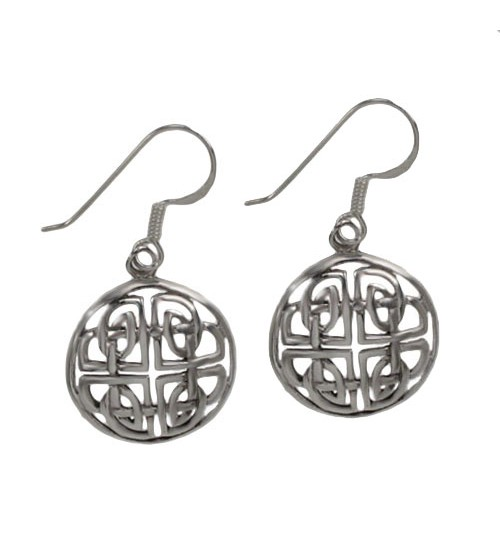 Round Celtic Knot Dangle Earrings, Sterling Silver