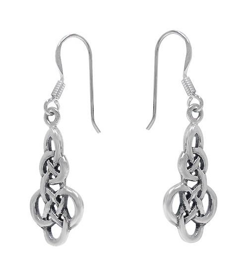 Celtic Knot Dangle Earrings, Sterling Silver