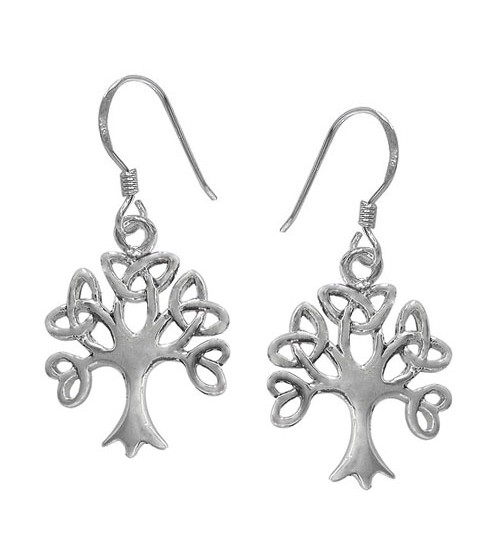 Celtic Tree Dangle Earrings, Sterling Silver