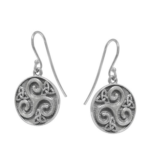 Triskelion Style Dangle Earring, Sterling Silver
