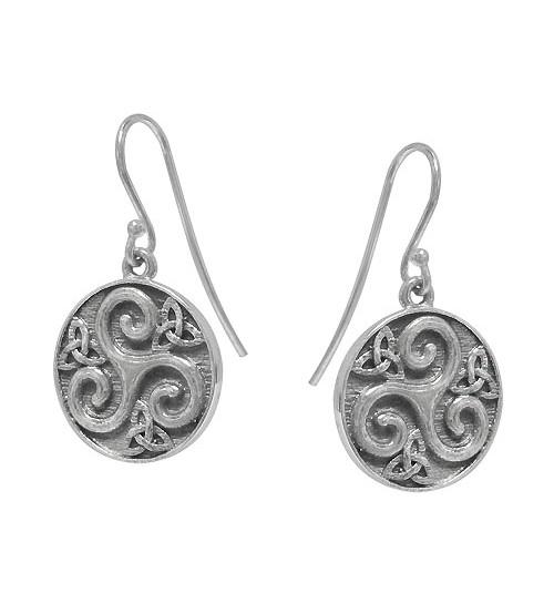 Triskelion Style Dangle Earring, Sterling Silver