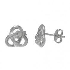 Flat Celtic Knot Stud Earring, Sterling Silver