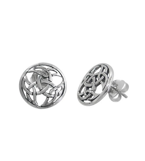 Round Celtic Knot Stud Earring, Sterling Silver