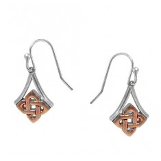 2-Tone Celtic Knot Dangle Earring, Sterling Silver