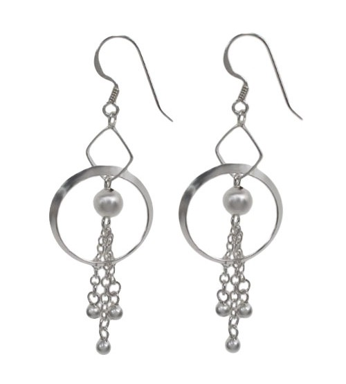 Ball Bead Tassel Dangle Earrings, Sterling Silver
