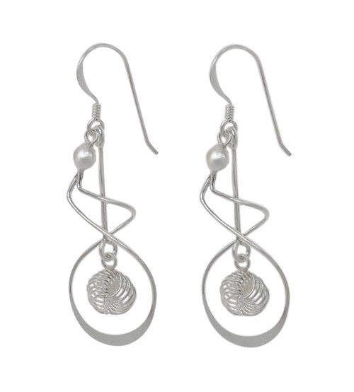 Fancy Style Dangle Earrings, Sterling Silver