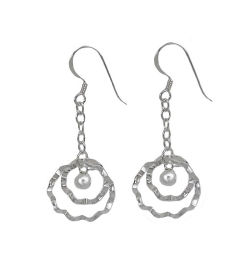 Wavy Round Loop Dangle Earrings, Sterling Silver