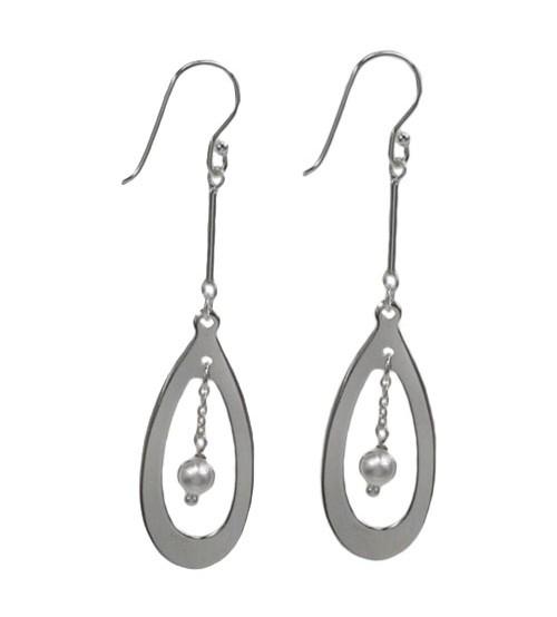Flat Teardrop Dangle Earrings, Sterling Silver