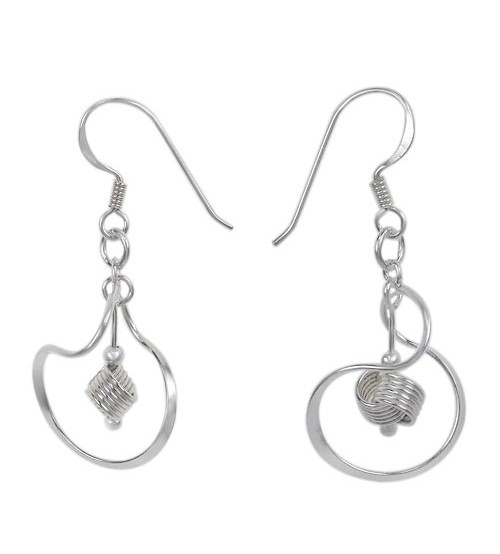 Twisted Loop & Wire Dangle Earrings, Sterling Silver