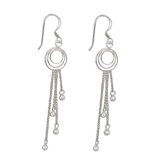 3mm Ball Bead Dangle Earrings, Sterling Silver