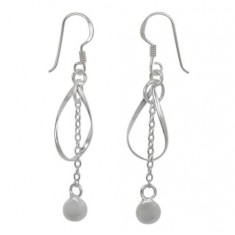 6mm Ball Bead Fancy Style Dangle Earrings, Sterling Silver