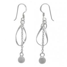 6mm Ball Bead Fancy Style Dangle Earrings, Sterling Silver