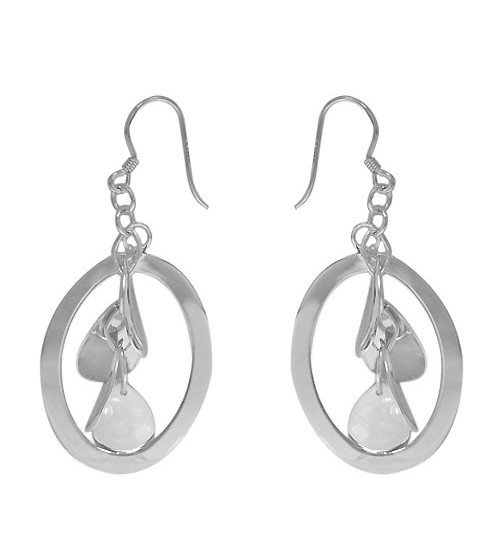 Oval Dangle Earrings, Sterling Silver