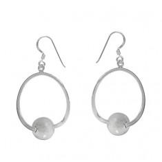 10mm Ball Dangle Earrings, Sterling Silver