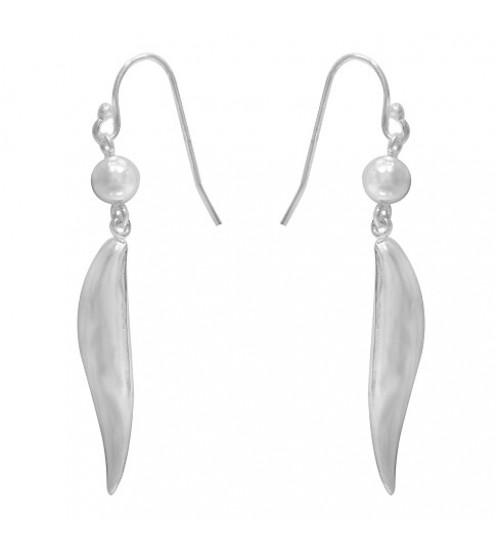 Wavy Dangle Earrings, Sterling Silver
