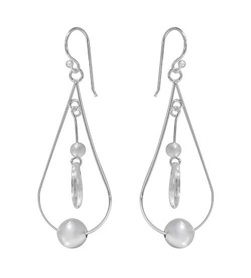 Teardrop Dangle Earrings, Sterling Silver