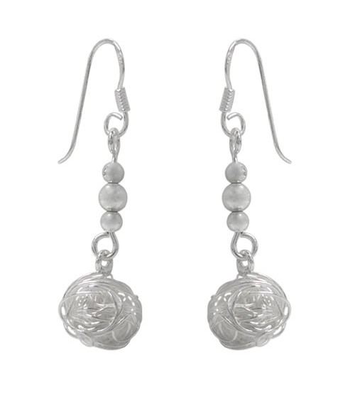 Wire Ball Dangle Earrings, Sterling Silver