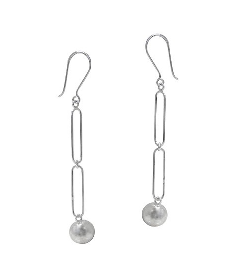 10mm Ball Bead Dangle Earrings, Sterling Silver