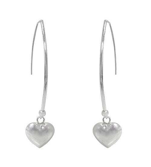 Heart Charm Dangle Earrings, Sterling Silver