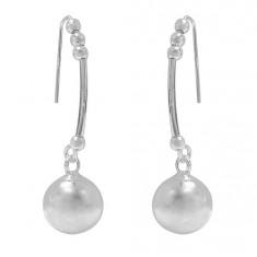 2.5-10mm Ball Bead Dangle Earrings, Sterling Silver