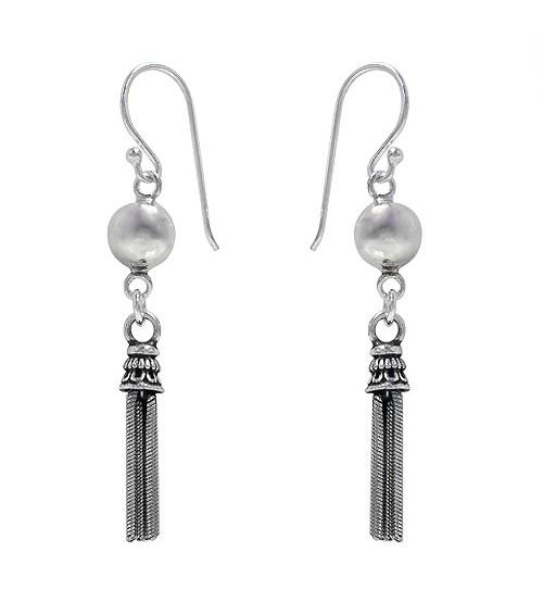 Tassel Dangle Earrings, Sterling Silver