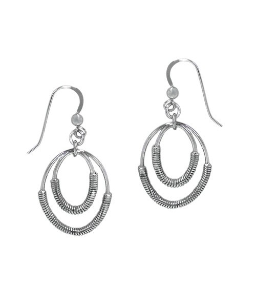 Oval Loops Dangle Earrings, Sterling Silver