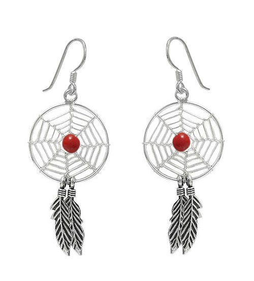 Red Dream Catcher Dangle Earrings, Sterling Silver