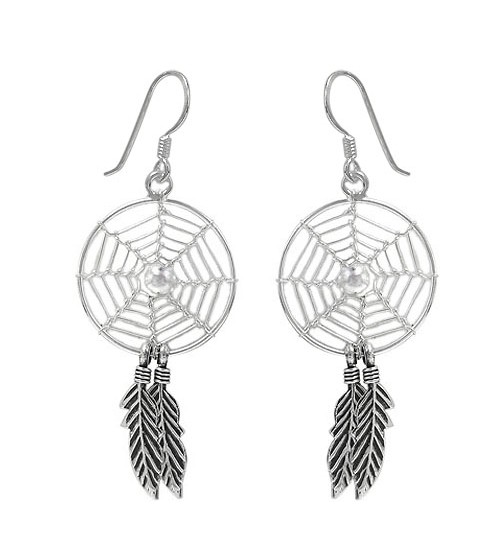 Clear Dream Catcher Dangle Earrings, Sterling Silver