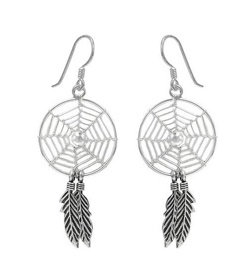 Clear Dream Catcher Dangle Earrings, Sterling Silver