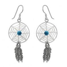Blue Dream Catcher Dangle Earrings, Sterling Silver