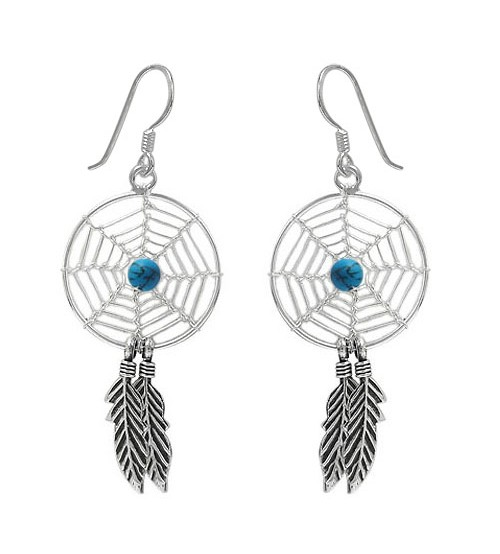 Blue Dream Catcher Dangle Earrings, Sterling Silver