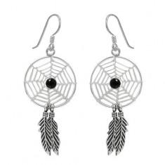 Black Dream Catcher Dangle Earrings, Sterling Silver