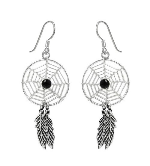 Black Dream Catcher Dangle Earrings, Sterling Silver