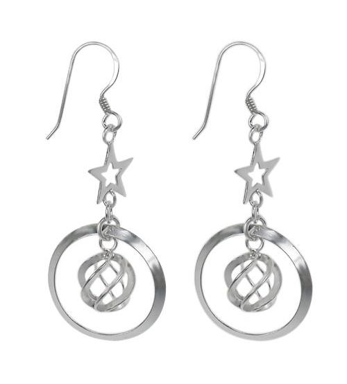 Twisted Ball & Star Dangle Earrings, Sterling Silver